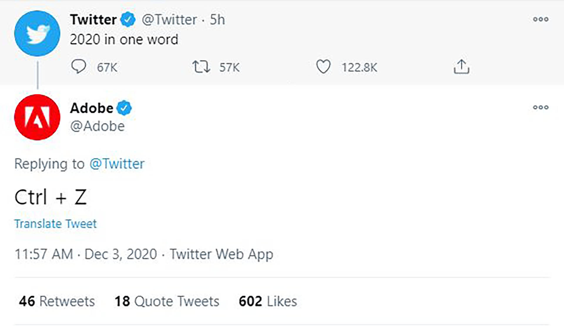 Adobe replied Twitter with one word to sum up 2020.