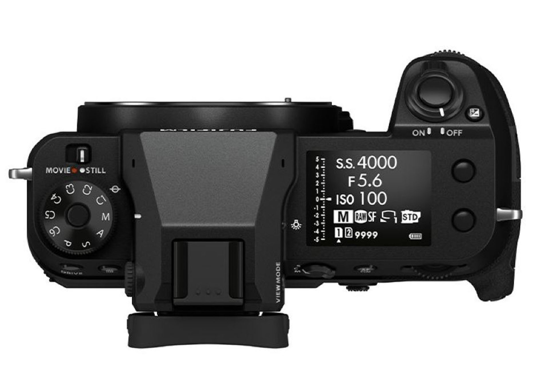Fujifilm GFX100s top LED and dial