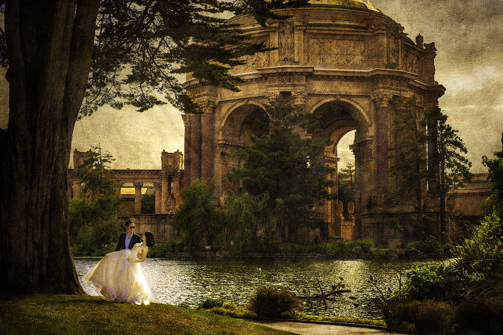 couple dancing in palace of fine art san francisco with texture