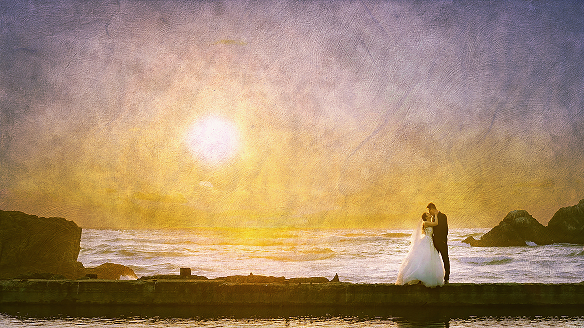 sunset couples with texture
