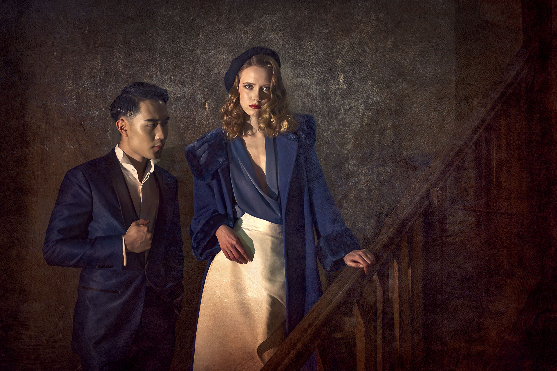 vintage couple on staircase with texture